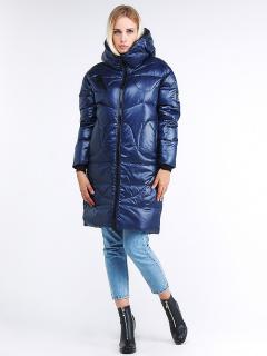 Купить оптом женскую зимнюю молодежную куртку с капюшоном темно-синего цвета в интернет магазине MTFORCE 9131_22TS