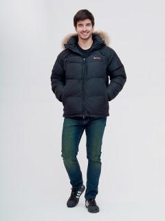 Купить оптом мужскую зимний пуховик черного цвета в интернет магазине MTFORCE 9160Ch