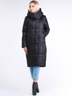 Купить оптом женскую зимнюю молодежную куртку стеганную черного цвета в интернет магазине MTFORCE 9163_01Ch