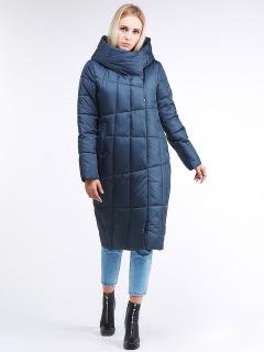 Купить оптом женскую зимнюю молодежную куртку стеганную темно-синего цвета в интернет магазине MTFORCE 9163_20TS