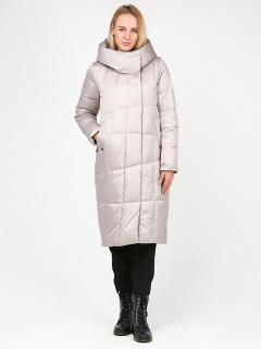 Купить оптом женскую зимнюю молодежную куртку стеганную бежевого цвета в интернет магазине MTFORCE 9163_28B