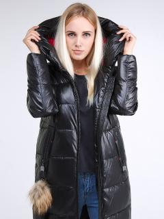Купить оптом женскую зимнюю молодежную куртку удлиненную черного цвета в интернет магазине MTFORCE 9175_01Ch