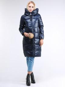 Купить оптом женскую зимнюю молодежную куртку удлиненную темно-синего цвета в интернет магазине MTFORCE 9175_02TS