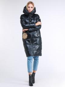 Купить оптом женскую зимнюю молодежную куртку удлиненную темно-серого цвета в интернет магазине MTFORCE 9175_03TC