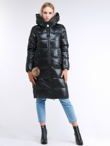 Купить оптом женскую зимнюю молодежную куртку удлиненную темно-зеленного цвета в интернет магазине MTFORCE 9175_13TZ