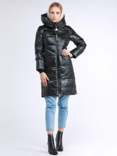 Купить оптом женскую зимнюю молодежную куртку с капюшоном темно-серого цвета в интернет магазине MTFORCE 9179_03TC