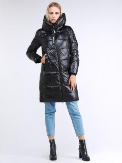 Купить оптом женскую зимнюю молодежную куртку с капюшоном черного цвета в интернет магазине MTFORCE 9179_01Ch