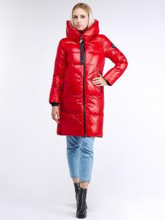 Купить оптом женскую зимнюю молодежную куртку с капюшоном красного цвета в интернет магазине MTFORCE 9179_14Kr
