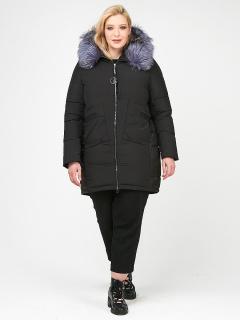 Купить оптом женскую зимнюю молодежную куртку большого размера черного цвета в интернет магазине MTFORCE 92-955_701Ch
