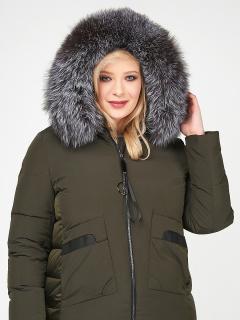 Купить оптом женскую зимнюю молодежную куртку большого размера цвета хаки в интернет магазине MTFORCE 92-955_8Kh