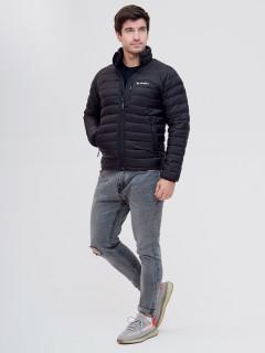 Купить оптом мужскую зимний пуховик еврозима черного цвета в интернет магазине MTFORCE 92104Ch