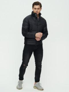 Купить оптом мужскую зимний пуховик еврозима черного цвета в интернет магазине MTFORCE 92107Ch