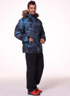 Купить оптом мужскую зимний пуховик синего цвета в интернет магазине MTFORCE 92114S