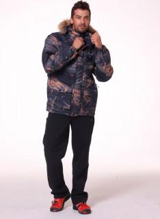 Купить оптом мужскую зимний пуховик коричневого цвета в интернет магазине MTFORCE 92114K