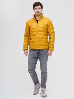 Купить оптом мужскую зимний пуховик еврозима желтого цвета в интернет магазине MTFORCE 92117J