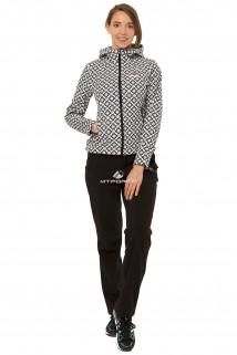Костюм виндстопер женский черно-белого цвета 0925ChBl