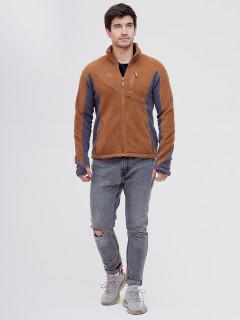 Купить оптом толстовку мужскую утепленную коричневого цвета 92600K в интернет магазине MTFORCE.RU
