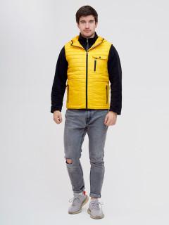 Купить оптом мужскую демисезонную стеганную куртку комплект 2 в 1 желтого цвета в интернет магазине MTFORCE 093347J