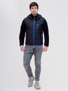 Купить оптом мужскую демисезонную стеганную куртку комплект 2 в 1 черного цвета в интернет магазине MTFORCE 093347Ch