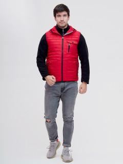 Купить оптом мужскую демисезонную стеганную куртку комплект 2 в 1 красного цвета в интернет магазине MTFORCE 093347Kr