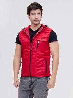 Купить оптом жилетка мужская стеганную утепленная красного цвета 93347Kr в интернет магазине MTFORCE.RU