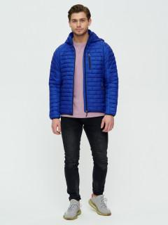 Купить оптом мужскую демисезонную стеганную куртку синего цвета в интернет магазине MTFORCE 93349S