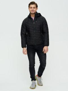Купить оптом мужскую демисезонную стеганную куртку черного цвета в интернет магазине MTFORCE 93349Ch