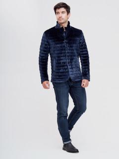 Купить оптом мужскую демисезонную велюровую  куртку темно-синего цвета в интернет магазине MTFORCE  93351TS