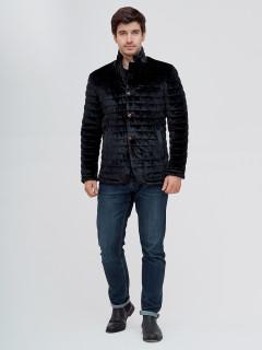 Купить оптом мужскую демисезонную велюровую  куртку черного цвета в интернет магазине MTFORCE 93351Ch