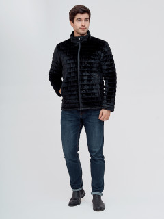 Купить оптом мужскую демисезонную велюровую  куртку черного цвета в интернет магазине MTFORCE 93352Ch