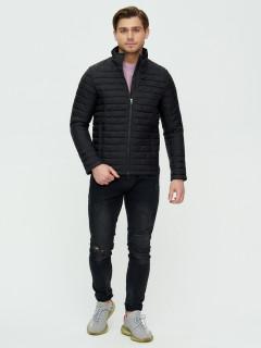 Купить оптом мужскую демисезонную стеганную куртку черного цвета в интернет магазине MTFORCE 93354Ch