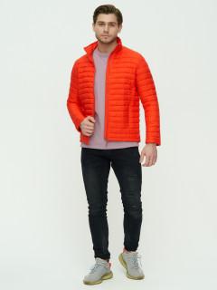 Купить оптом мужскую демисезонную стеганную куртку оранжевого цвета в интернет магазине MTFORCE 93354O