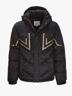 Купить оптом мужской зимний пуховик черного цвета в интернет магазине MTFORCE 9449S
