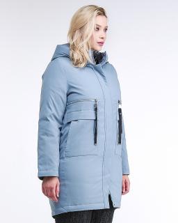 Купить оптом женскую зимнюю молодежную куртку большого размера серого цвета в интернет магазине MTFORCE 95-906_2Sr