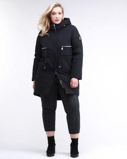 Купить оптом женскую зимнюю молодежную куртку большого размера черного цвета в интернет магазине MTFORCE 95-906_701Ch
