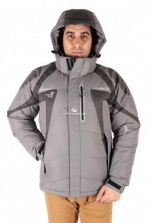 Купить оптом куртка пуховик мужская серого цвета 9663Sr в интернет магазине MTFORCE.RU