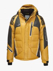 Купить оптом мужской зимний пуховик горчичного цвета в интернет магазине MTFORCE 9689G