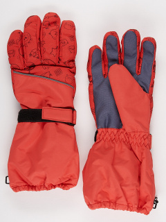 Горнолыжные перчатки подростковые для мальчика зимние оранжевого цвета купить оптом в интернет магазине MTFORCE 972O