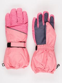 Горнолыжные перчатки подростковые для девочки зимние розового цвета купить оптом в интернет магазине MTFORCE 972R