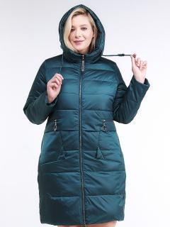 Купить оптом женскую зимнюю классику куртку большого размера темно-зеленного цвета в интернет магазине MTFORCE 98-920_13TZ