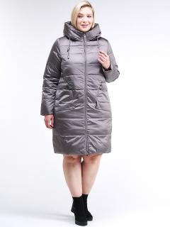 Купить оптом женскую зимнюю классику куртку большого размера коричневого цвета в интернет магазине MTFORCE 98-920_48K