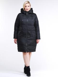 Купить оптом женскую зимнюю классику куртку большого размера черного цвета в интернет магазине MTFORCE 98-920_701Ch