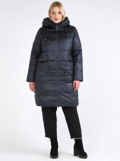 Купить оптом женскую зимнюю классику куртку большого размера болотного цвета в интернет магазине MTFORCE 98-920_122Bt