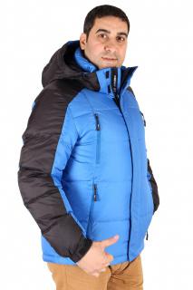 Купить оптом куртка пуховик мужская синего цвета 9872S в интернет магазине MTFORCE.RU