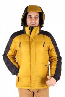 Купить оптом куртка пуховик мужская горчичного  цвета 9872G в интернет магазине MTFORCE.RU