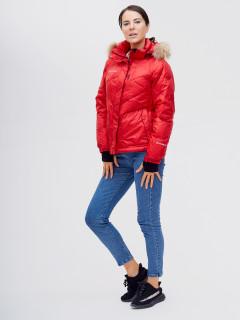 Купить оптом женскую зимний пуховик еврозима красного цвета в интернет магазине MTFORCE 21107Kr