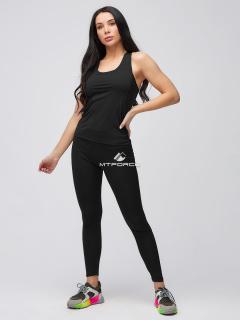 Спортивный костюм для фитнеса женский осенний черного цвета купить оптом в интернет магазине MTFORCE 21104Ch