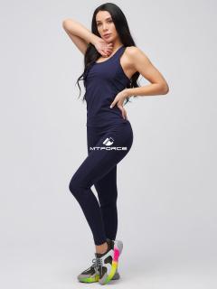 Спортивный костюм для фитнеса женский осенний темно-синего цвета купить оптом в интернет магазине MTFORCE 21104TS