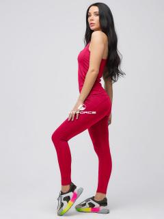 Спортивный костюм для фитнеса женский бордового цвета купить оптом в интернет магазине MTFORCE 21104Bo