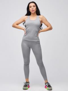 Спортивный костюм для фитнеса женский осенний весенний серого цвета купить оптом в интернет магазине MTFORCE 21104Sr